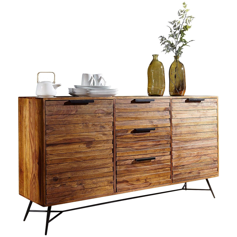 FineBuy Design Sideboard Nasha 160x40x88 cm Sheesham Massiv Holz | Kommode mit Türen & Schubladen | Massive Anrichte Industrial | Massivholz Schrank mit Metallbeinen