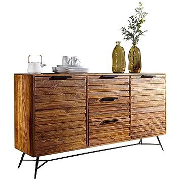 Finebuy Design Sideboard Nasha 160x40x88 Cm Sheesham Massiv Holz Kommode Mit Turen Schubladen Massive Anrichte Industrial Massivholz Schrank