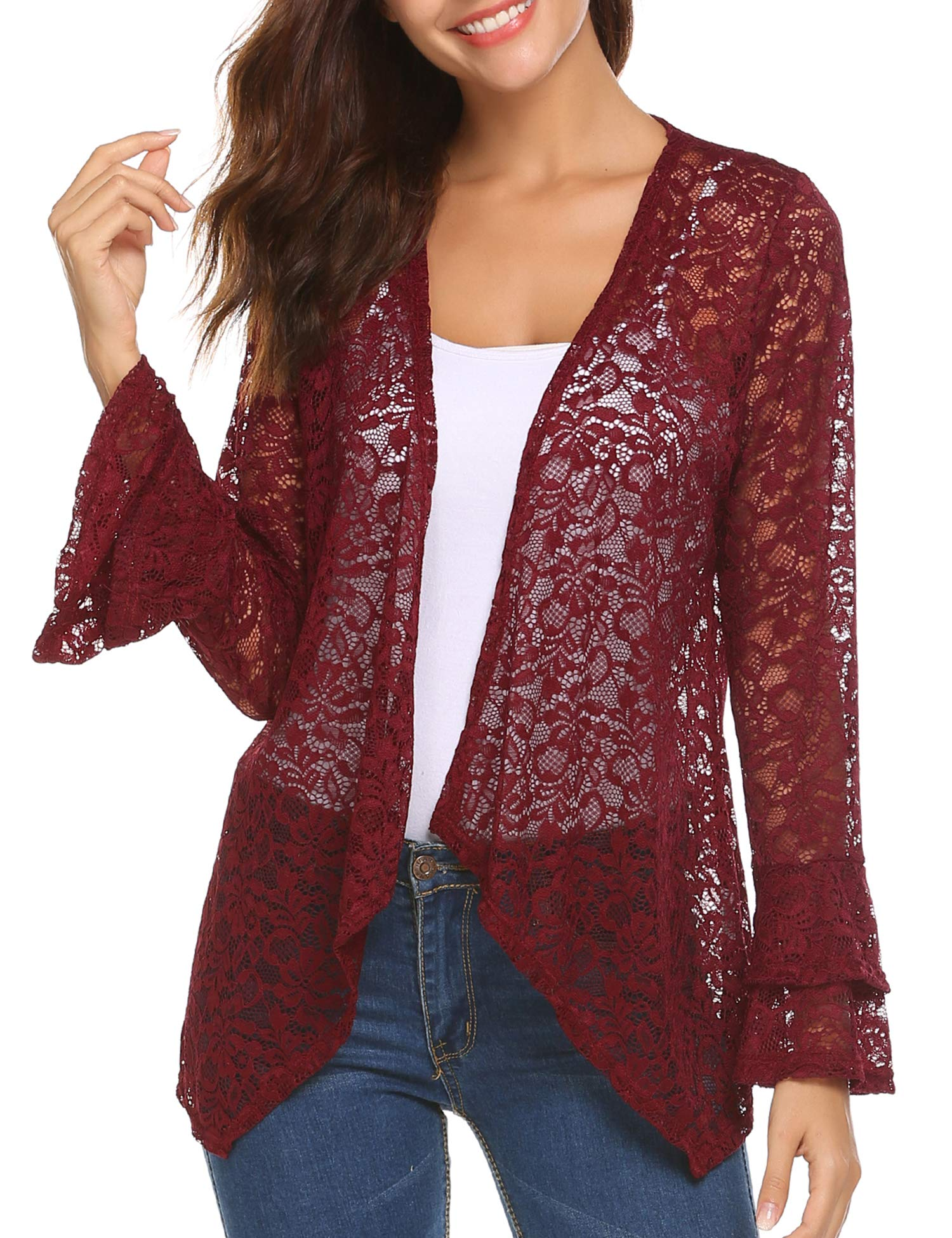 Deawell Women's Long Bell Sleeve Lace Crochet Open Front See Through Cardigan Tops (Wine Red, L)