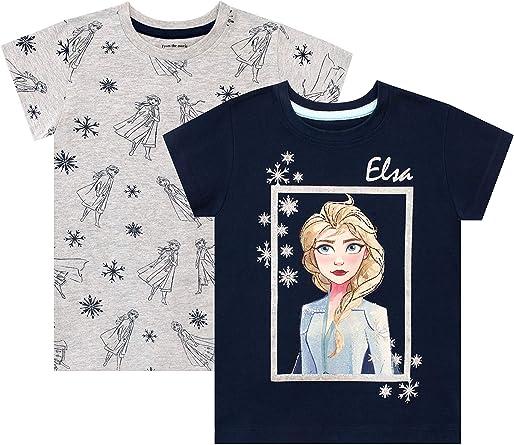 Disney Lot de 2 T Shirt La Reine des Neiges Fille