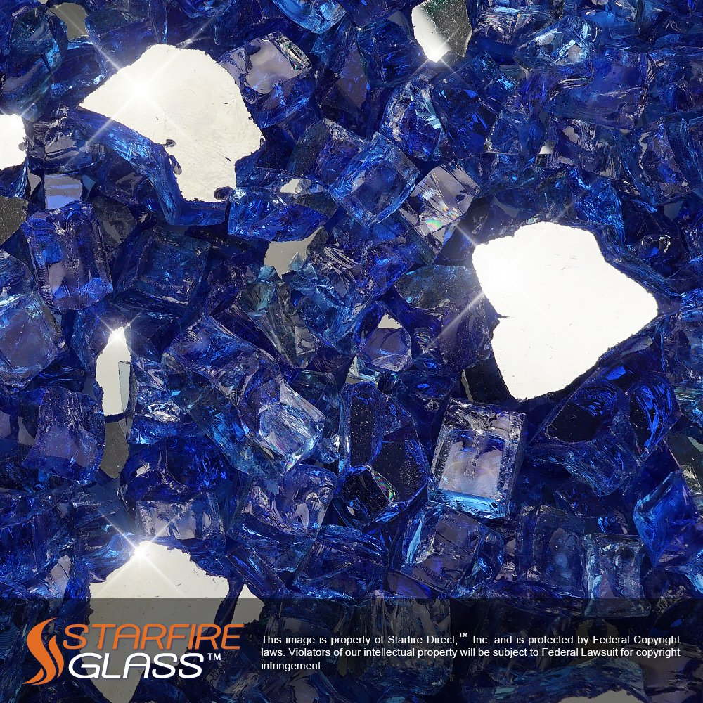 Starfire Glass 10-Pound Fire Glass with Fireplace Glass and Fire Pit Glass, 1/2-Inch, Cobalt Blue (Reflective Supreme)