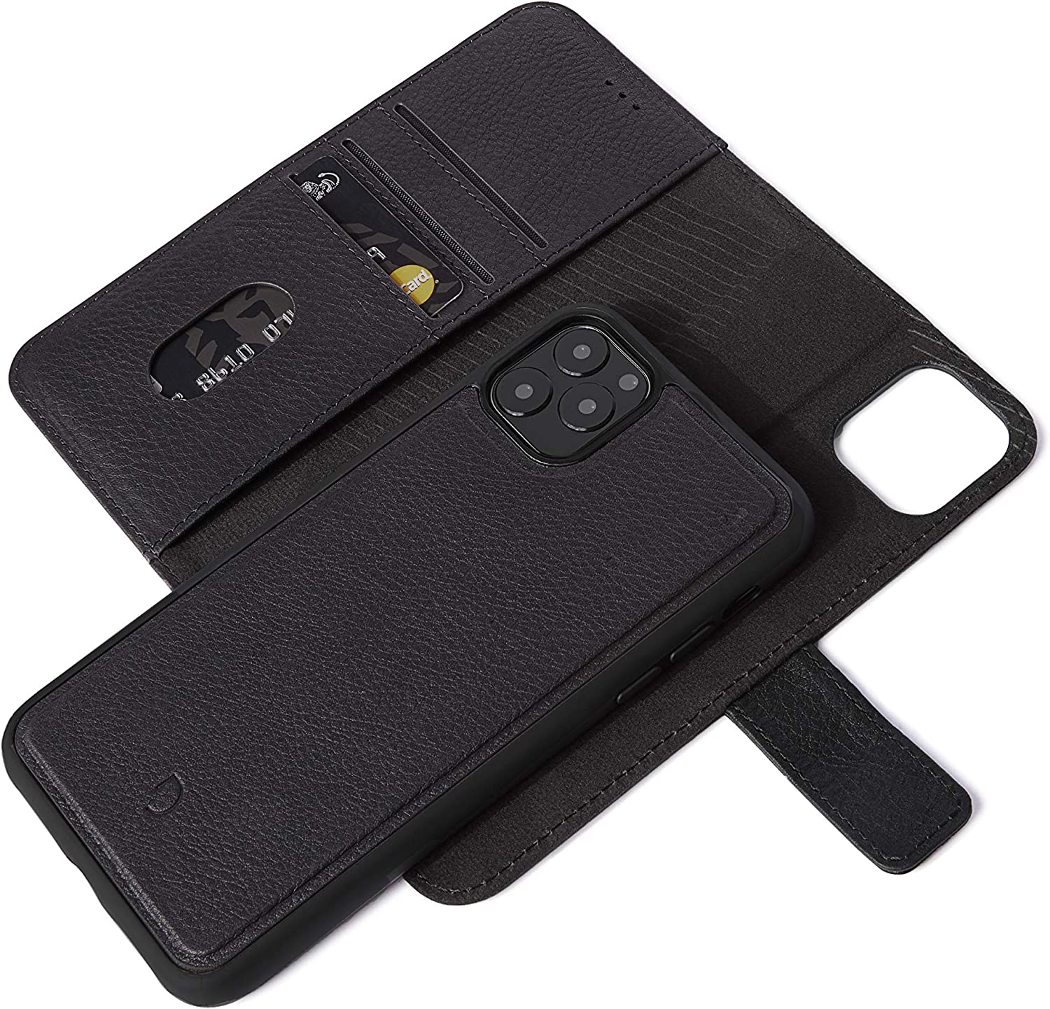 DECODED Detachable Wallet for iPhone 11 Pro - Black Full Grain Leather - 2 in 1 Wallet and Back Cover