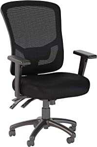 Bush Business Furniture Custom Comfort High Back Multifunction Mesh Executive Office Chair in Black