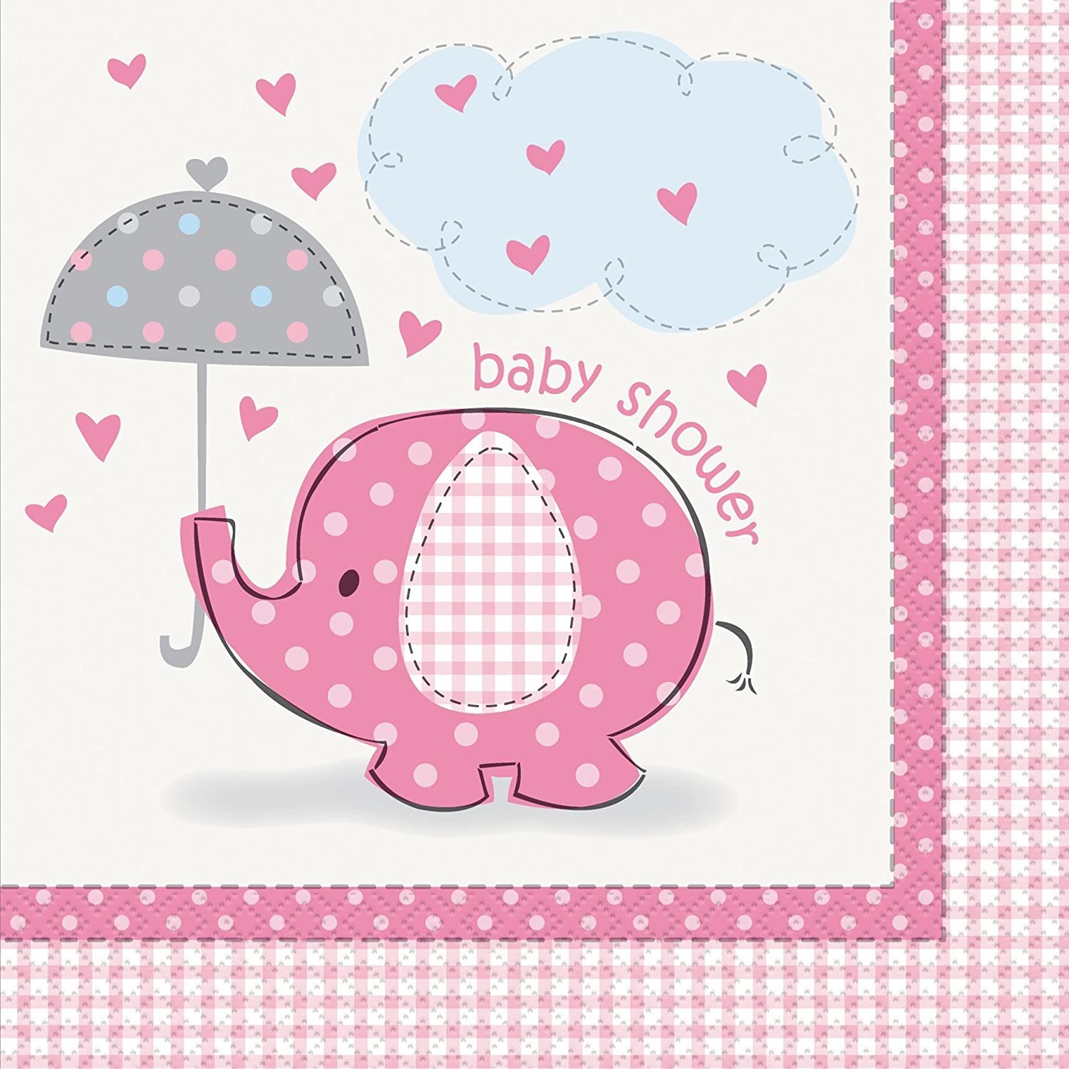 Umbrellaphants Pink Luncheon Napkins - Pack of 16 Uk Baby Shower Co 41652