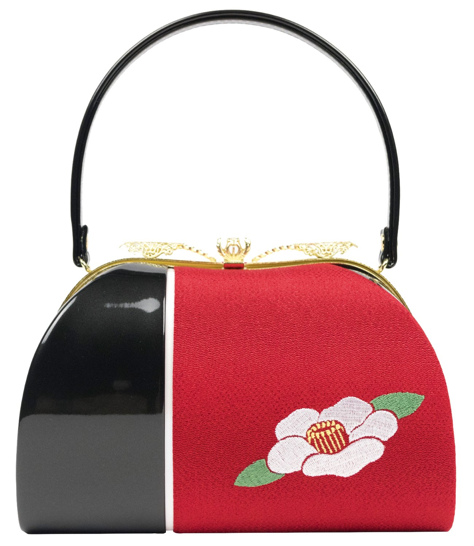 (キョウエツ) KYOETSU 卒業式 成人式 日本製 レディース刺繍バッグ 椿柄 ミラー付き B0773DBGZ6 01.黒×赤 01.黒×赤 -