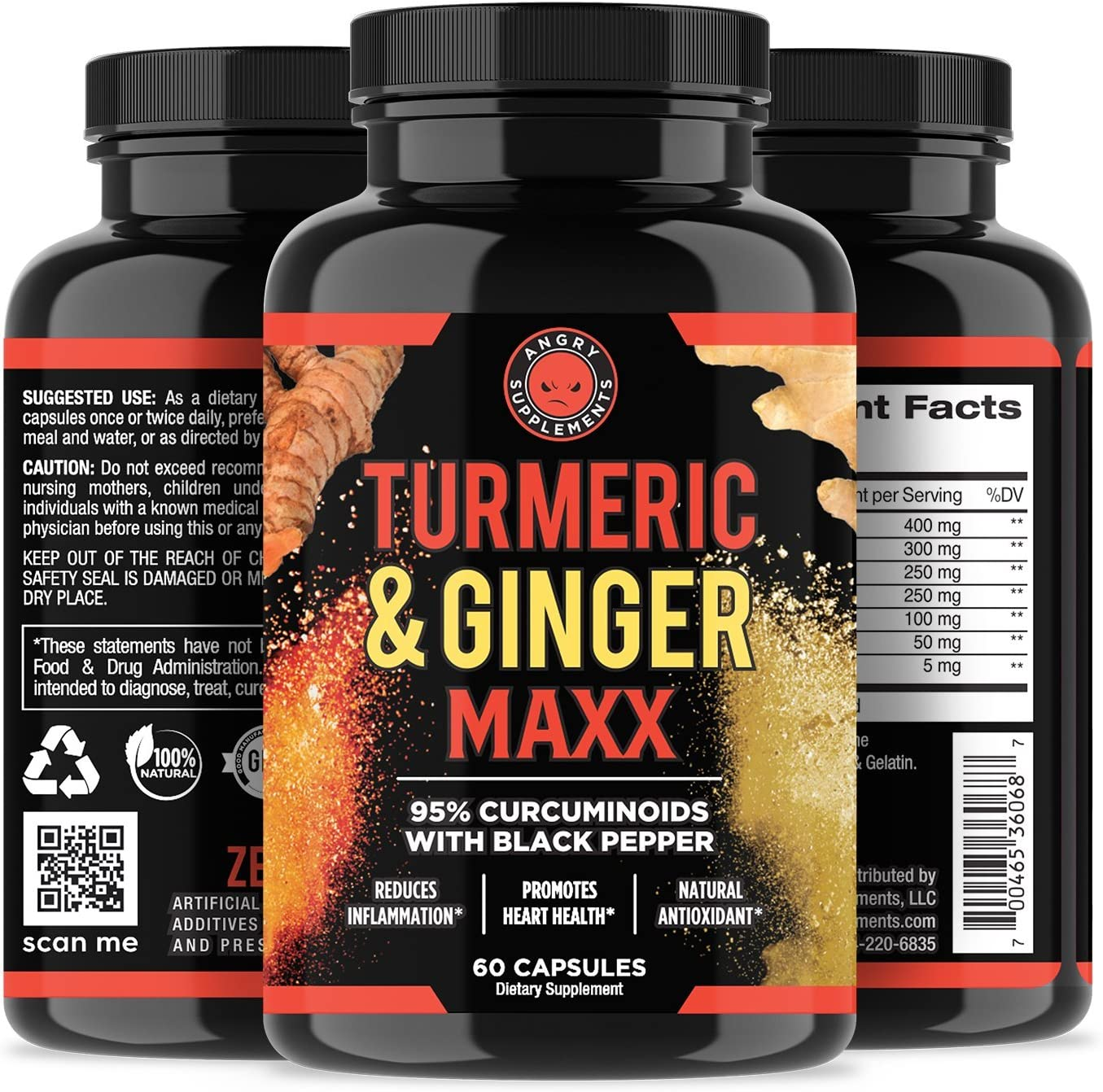 Apple Cider Vinegar + Beetroot and Turmeric & Ginger Capsules (2-Pack Bundle) by Angry Supplements, All-Natural Weight Loss Detox Remedy, Nitric Oxide Booster, Boost Metabolism + Energy (120 Count): Health & Personal Care