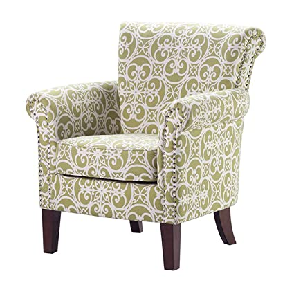 Accent Armchair With Geometric Pattern, Fabric Upholstered And Nailhead  Trim, Contemporary Arm Club Chair