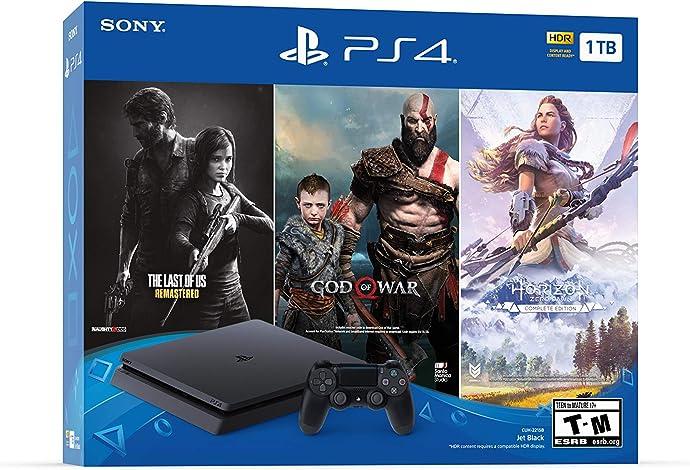 SONY 索尼 PlayStation 4 Slim 1TB 电脑娱乐机 游戏机 《战神》+《地平线》+《美末》同捆套装 6.6折$199 海淘转运到手约¥1660