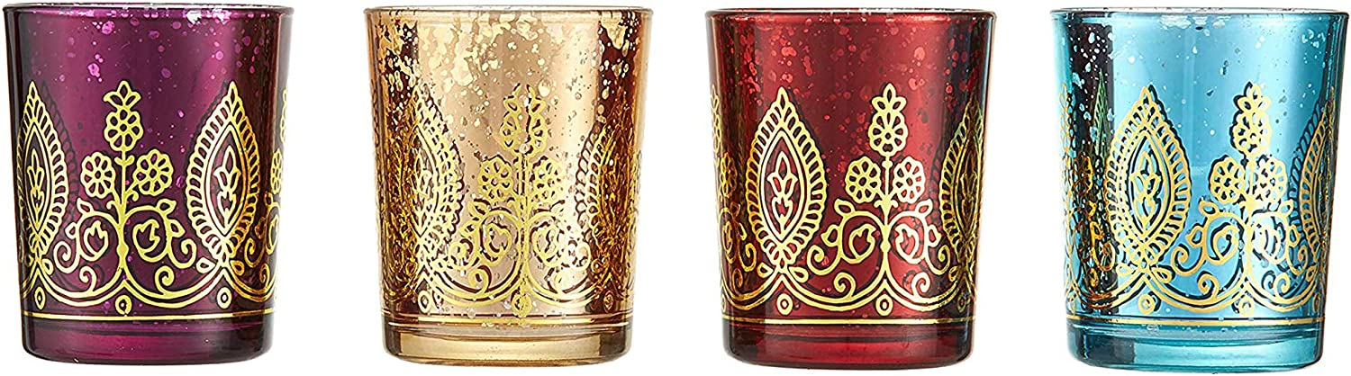 Kаtе аspеn Home Decor Indian Jewel Henna Glass Votives, Tealight Candle Holders, Wedding Decorations