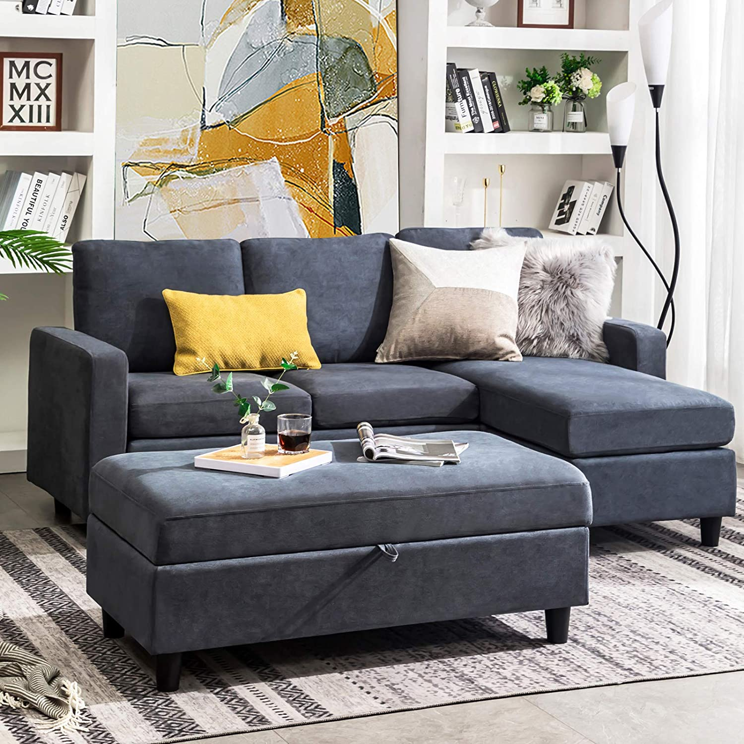 Best For Soft Fabric: HONBAY Linen Fabric Sofa With Storage Ottoman