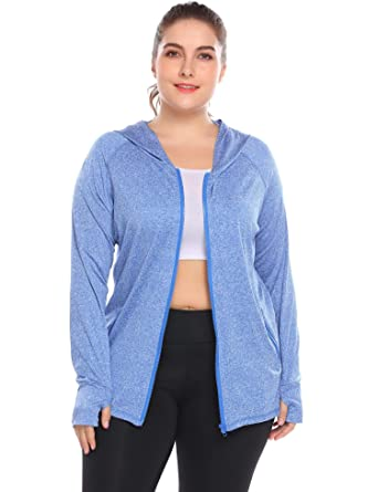 6454655c6597a Amazon.com: plunger Women Plus Size Workout Jacket Running Sports Hoodies  Yoga Jackets Coat Activewear with Thumb Holes: Clothing