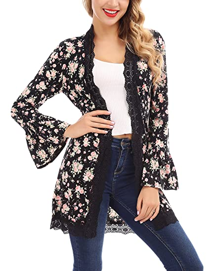 FISOUL Women s Open Front Cardigan Long Bell Sleeve Floral Lace Kimono Cardigan  Sweater S-XXL 4a86abb28
