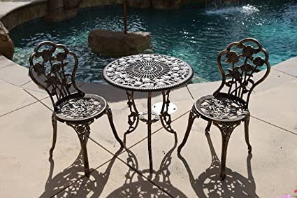BISTRO SET OUTDOOR PATIO FURNITURE 3 PIECE ROSE PATTERN BROWN ANTIQUE  BRONZE FINISH CAST IRON U0026