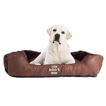 Cama de perro de peluche de primera calidad en gris, marrón y galletas M/