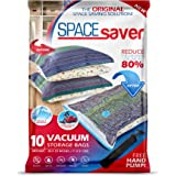 Spacesaver Premium Vacuum Storage Bags. 80% More Storage! Hand-Pump for Travel! Double-Zip Seal and Triple Seal Turbo…