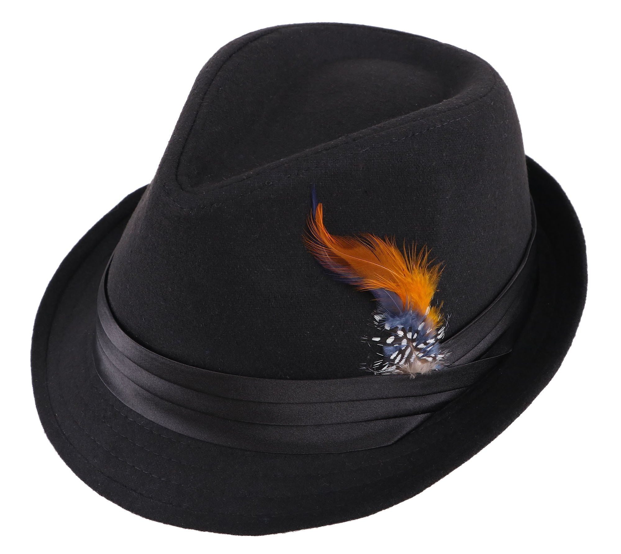 Denovit Mens & Women's Classic Sleek Dapper Fedora Hat,Black/Orange Fur