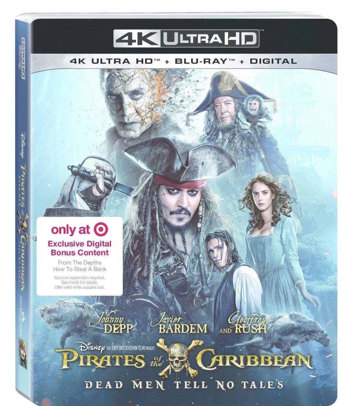 Amazon Com Pirates Of The Caribbean Dead Men Tell No Tales 4k Ultra Hd Blu Ray Digital Combo Set Plus Target Excluisve Digital Bonus Conten Movies Tv