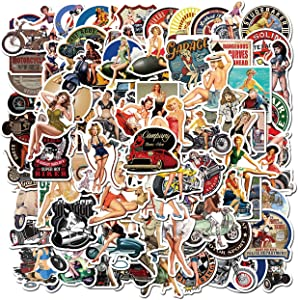 Pinup Girl Stickers 100 pcs Retro Vintage Stickers Vinyl Waterproof Stickers for Girls Adults Men Bike Luggage Car Laptop Skateboard Motorcycles