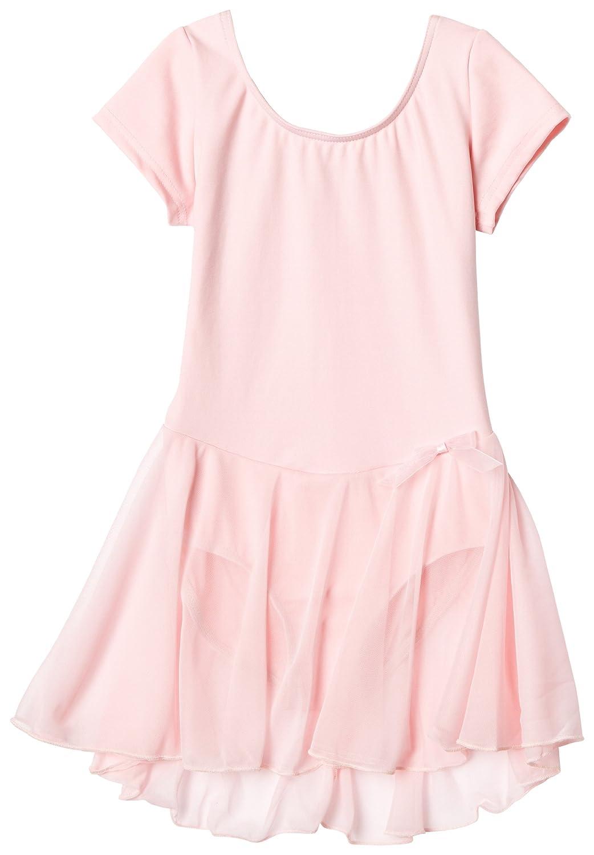 Capezio Ballet Dress- Dance Dress 3966c Short Sleeve Nylon Dress - Pink, Cotton-polyester jersey, L (children)