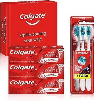 Colgate Kit Blanqueador con Pasta de Dientes Max White Luminous (3 x 75 ml) y Cepillo Blanqueador Max White One 360 (pack de 3 unidades): Amazon.es: Salud y cuidado personal