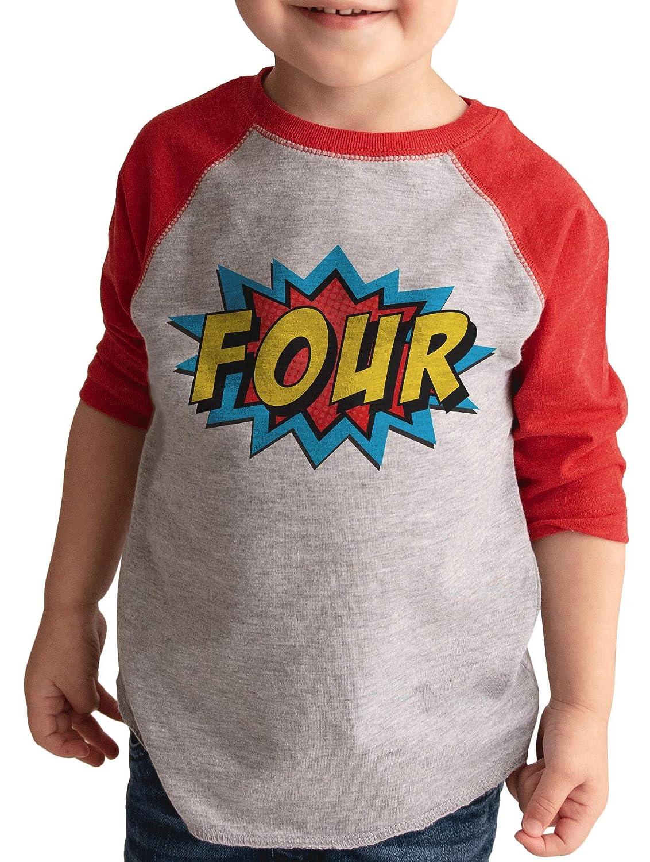 7 ate 9 Apparel Boys Birthday Four Superhero Red Raglan