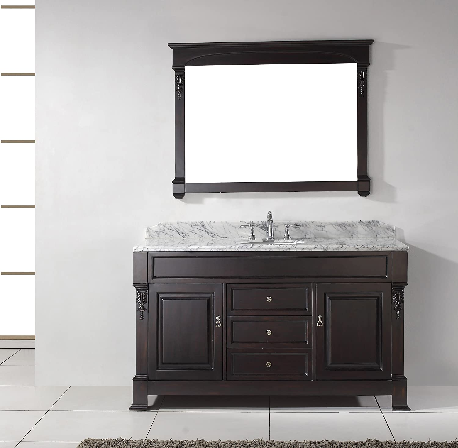 Virtu USA GS-4060-WMRO-DW Huntshire 60-Inch Single Sink Bathroom ...