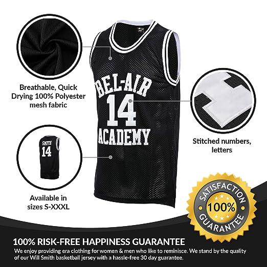 c0caabfb01b2 Amazon.com   AFLGO Fresh Prince of Bel Air  14 Basketball Jersey S-XXXL -  90 s Clothing Throwback Will Smith Costume Athletic Apparel Clothing Top  Bonus ...