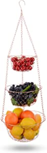 IBERG 3-Tier Fruit Basket Hanging Baskets for Storage - Kitchen Bathroom Organizer (Copper)