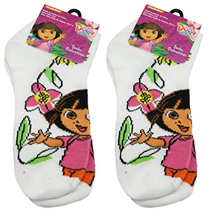 2 Pair White Dora the Explorer Socks (Size 6-8)