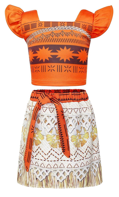 AmzBarley Moana Princess Costume Skirt Girl's 2 Piece Party Dress Kids Clothes Set