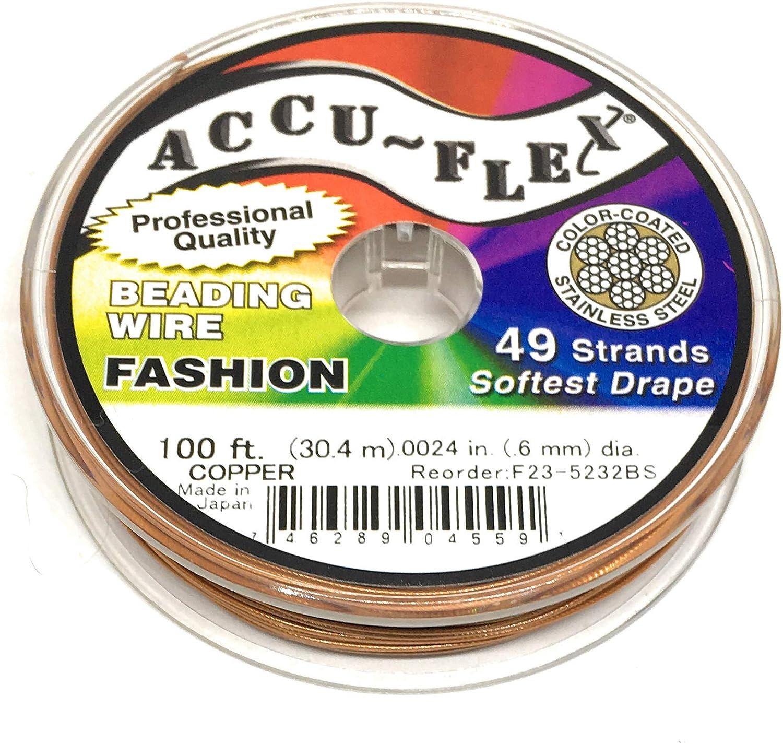 100/' Accu-Flex copper steel beading wire 49 strand .024 inch