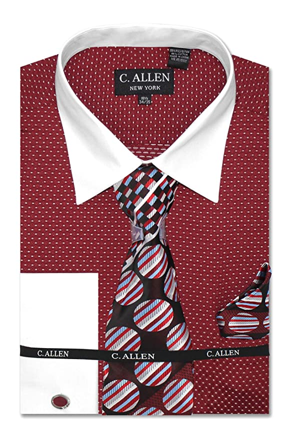 New Mini Plaid//Check Design Dress Shirt French Cuff White Collar Tie/&Hanky AH624