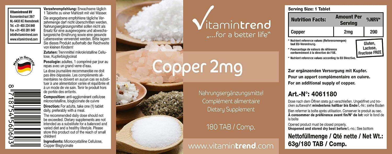 Cobre 2mg - ¡Bote para 6 MESES! - comprimidos veganos - suplemento de cobre con alta dosificación - 180 tabletas: Amazon.es: Salud y cuidado personal
