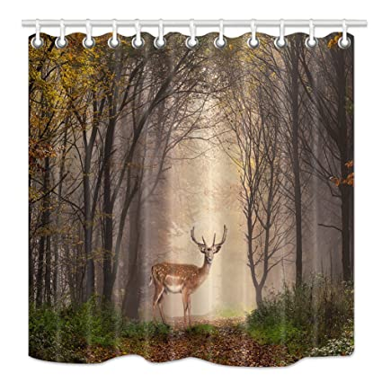 HNMQ Elk Shower Curtain Wild Animals Deer Safari In Dreamy Misty North American Forest Trees