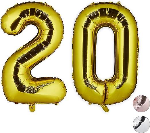 Relaxdays, Dorado, 85-100 cm Globos de Cumpleaños Número 20 ...
