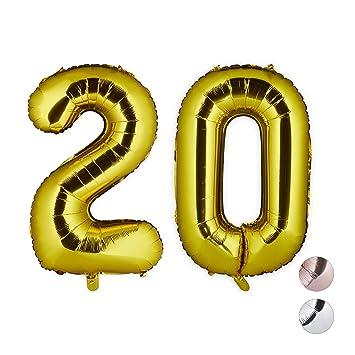 Relaxdays Globos de Cumpleaños Número 20, Aluminio, Dorado, 85-100 cm