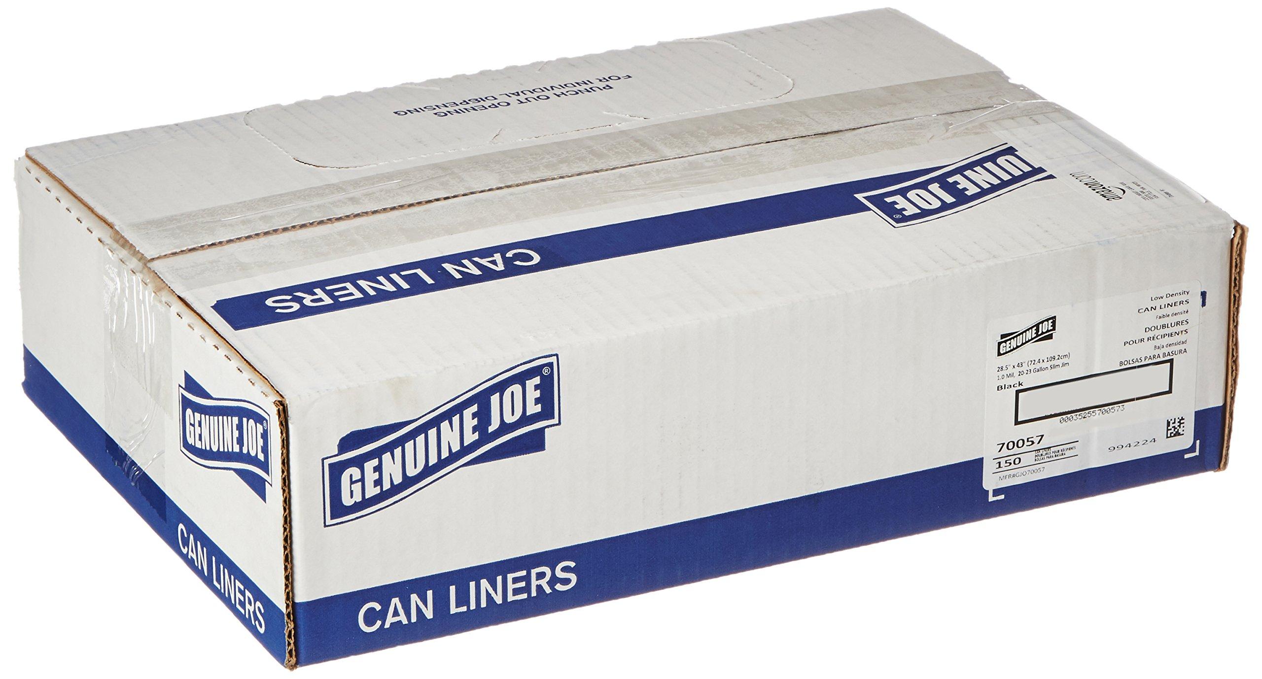 Genuine Joe GJO70057 Slim Jim Can Liners, Low Density, 23 gal, 43'' x 28.50'', 150/Box, Black