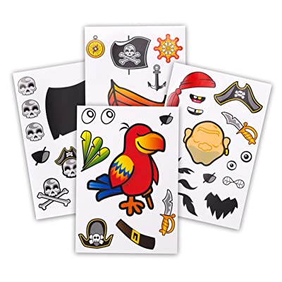 24 Make A Pirate Stickers For Kids - Great Pirate Theme Birthday Party Favors - Fun Craft Project For Children 3+ - Let Your Kids Get Creative & Design Their Favorite Pirate Stickers: Toys & Games