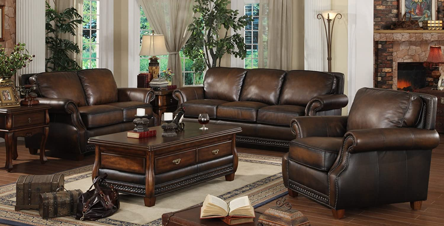 Amazon.com: Lazzaro 5070\' 3 Piece Living Room Set - Sofa, Chair ...