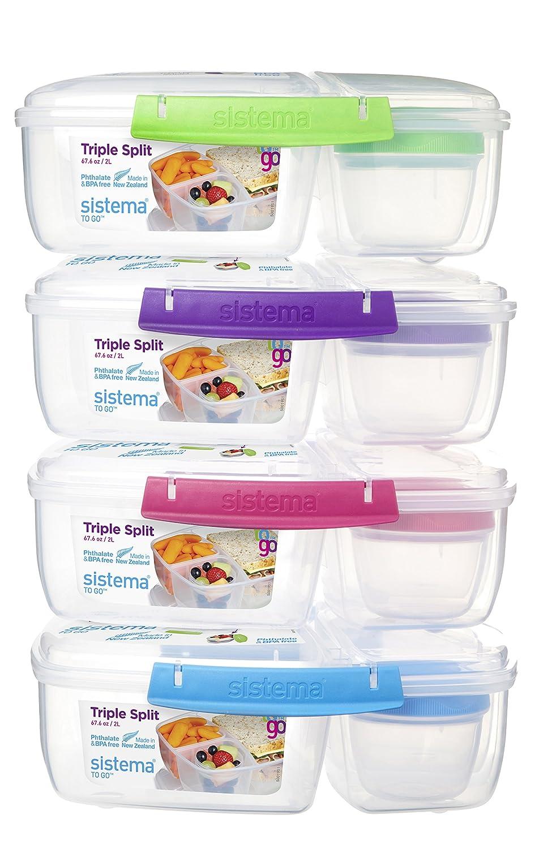 pl/ástico con Recipiente para Yogur 24.5 x 20 x 9.1999999999999993 cm 2 L Caja de Almuerzo Triple Azul//Verde Sistema
