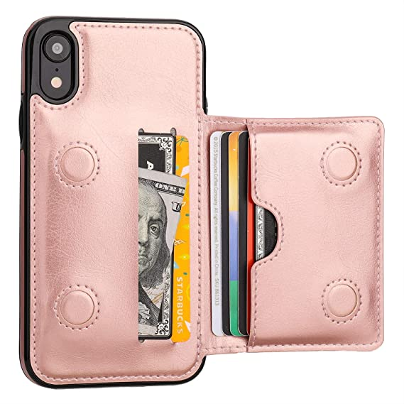dedfcf3a4375 iPhone XR Wallet Case Credit Card Holder, KIHUWEY Premium Leather Kickstand  Durable Shockproof Protective Cover iPhone XR 6.1 Inch(Rose Gold)
