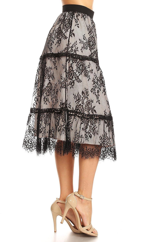d993a62175 On Twelfth Women's Eyelash Lace Midi Skirt Eyelash Feather Hem Lace Overlay  Slit Long Midi Skirt at Amazon Women's Clothing store: