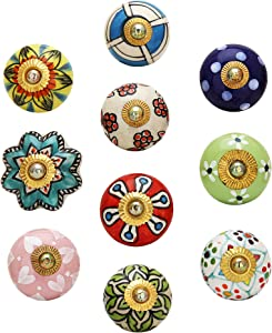 Antique Door Knob - Pack of 10 Pcs - Decorative Furniture Accessories for Drawers, Dressers and Wardrobe Multicolor Floral Cupboard Knobs