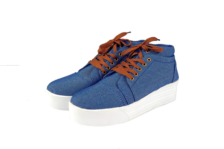 Girls Denim High Heel Boot Sneakers