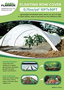 FLARMOR Floating Row Cover - 10x30ft Fabric Blanket- Protects Outdoor Plants and Vegetables from Frost 0.75oz, Sun, and Insects- Freeze Protection- Covers Outdoor Plants Against Harsh Weather