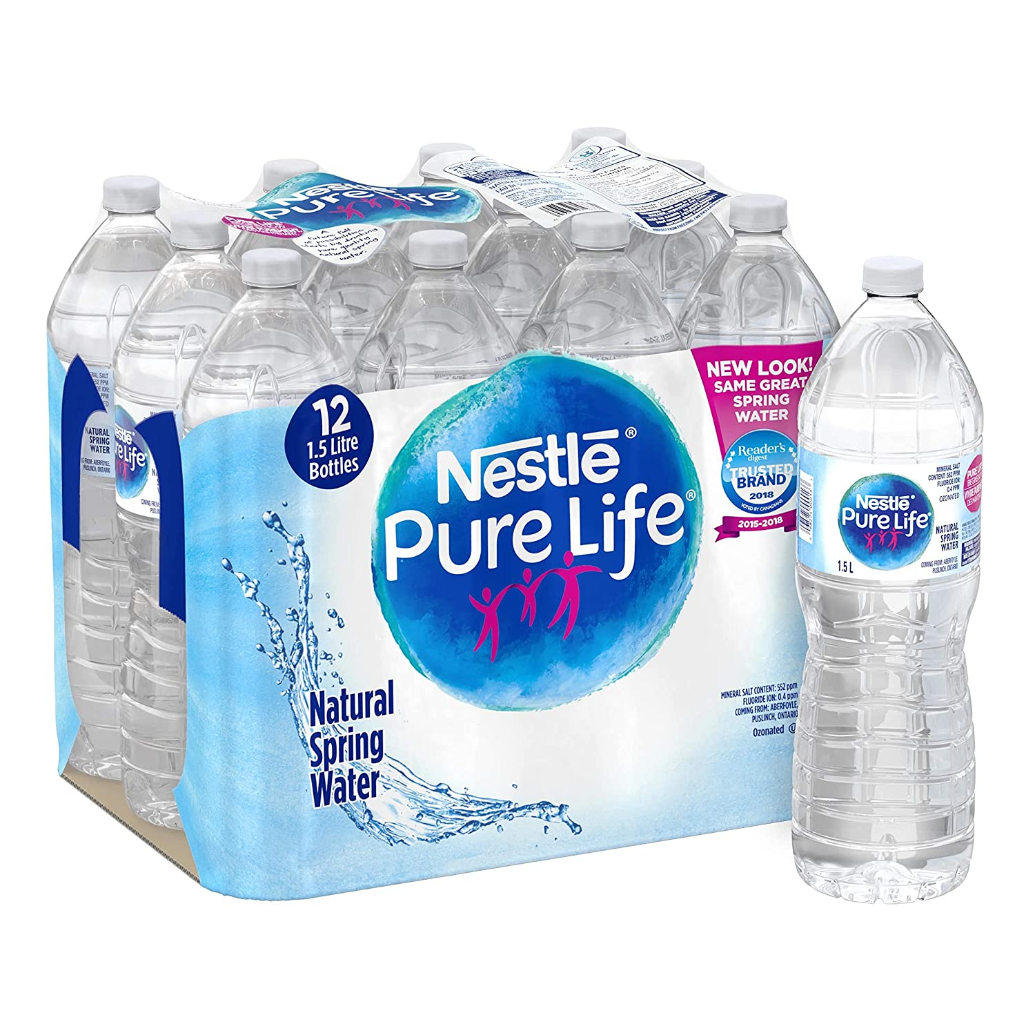 ac4410fce6 Nestle Pure Life 100% Natural Spring Water 1.5L Plastic Bottle, 12 Count:  Amazon.ca: Grocery