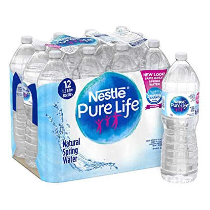 Nestle Pure Life 100% Natural Spring Water 1 5L Plastic Bottle, 12