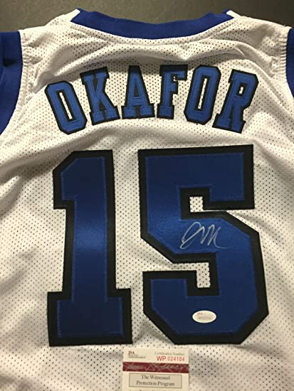 8b3e103b445 Autographed/Signed Jahlil Okafor Duke White College Basketball Jersey JSA  COA at Amazon's Sports Collectibles Store