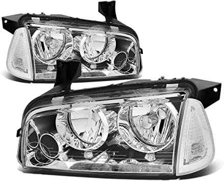 11 12 13 14 Dodge Charger Front Driving Headlights Chrome Housing Smoke Lens