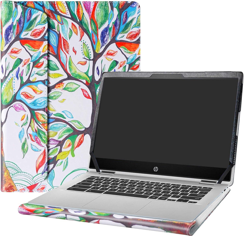 "Alapmk Protective Case for 14"" HP Chromebook x360 14 14-daXXXX/14b 14b-caXXXX/Chromebook Enterprise x360 14E 14 G1/HP Chromebook 14 G6 Laptop[Note:Not fit HP Chromebook 14 G5/14-caXXX],Love Tree"